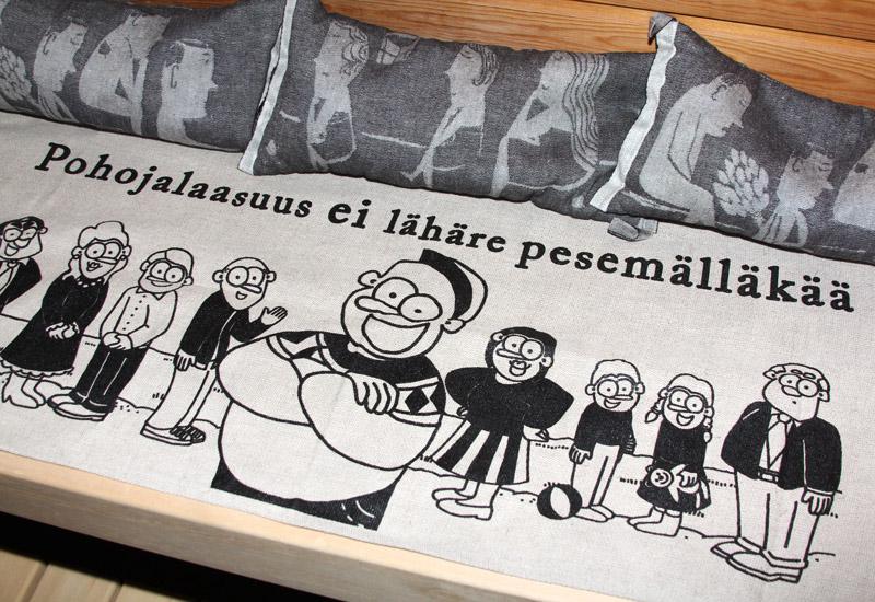 Meidän nettikaupasta www.pöyrööt.fi saa nykyään myös laudeliinoja. Meilläkin on tietysti saunassa omamme.